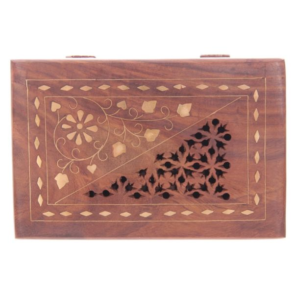 Fretwork Sheesham Wood Trinket Box with Flower Inlay