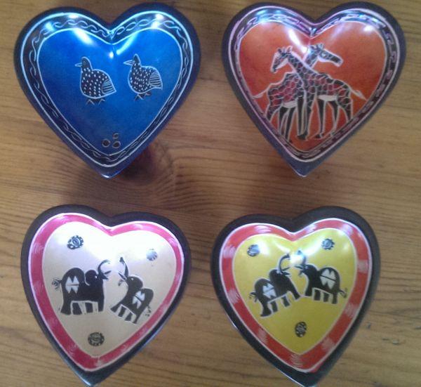 Handmade African Kisii Soapstone Heart Dish 10cm - Elephant
